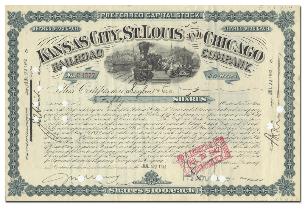 Kansas City, St. Louis and Chicago Railroad Company Stock Certificate