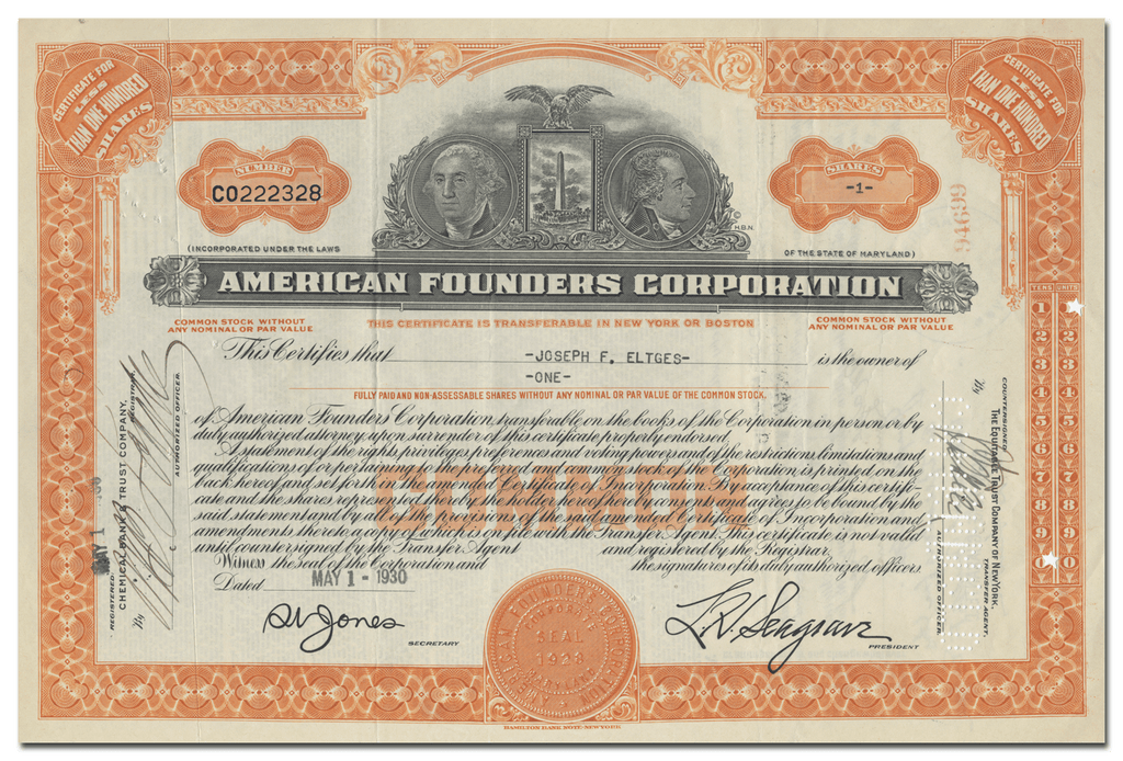 American Founders Corporation Stock Certificate