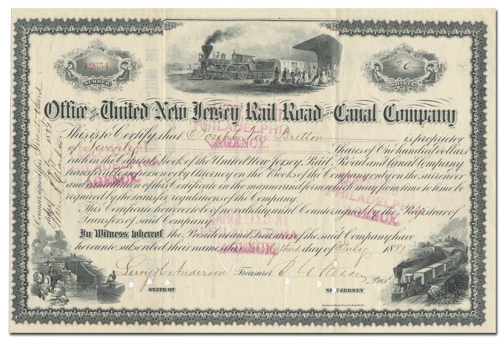 United New Jersey Rail Road and Canal Company Stock Certificate