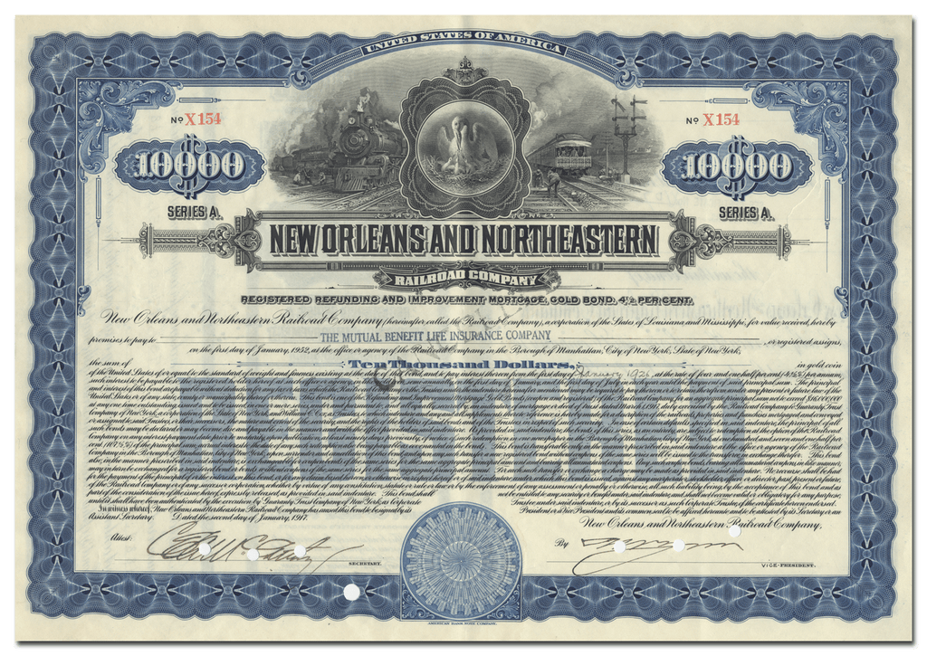 New Orleans and Northeastern Railroad Company Bond Certificate