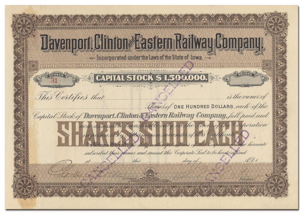 Davenport, Clinotn and Eastern Railway Company Stock Certificate