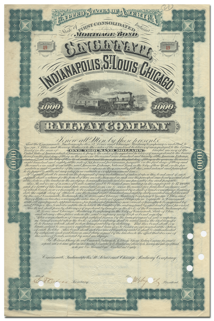 Cincinnati, Indianapolis, St. Louis and Chicago Railway Company Bond Certificate
