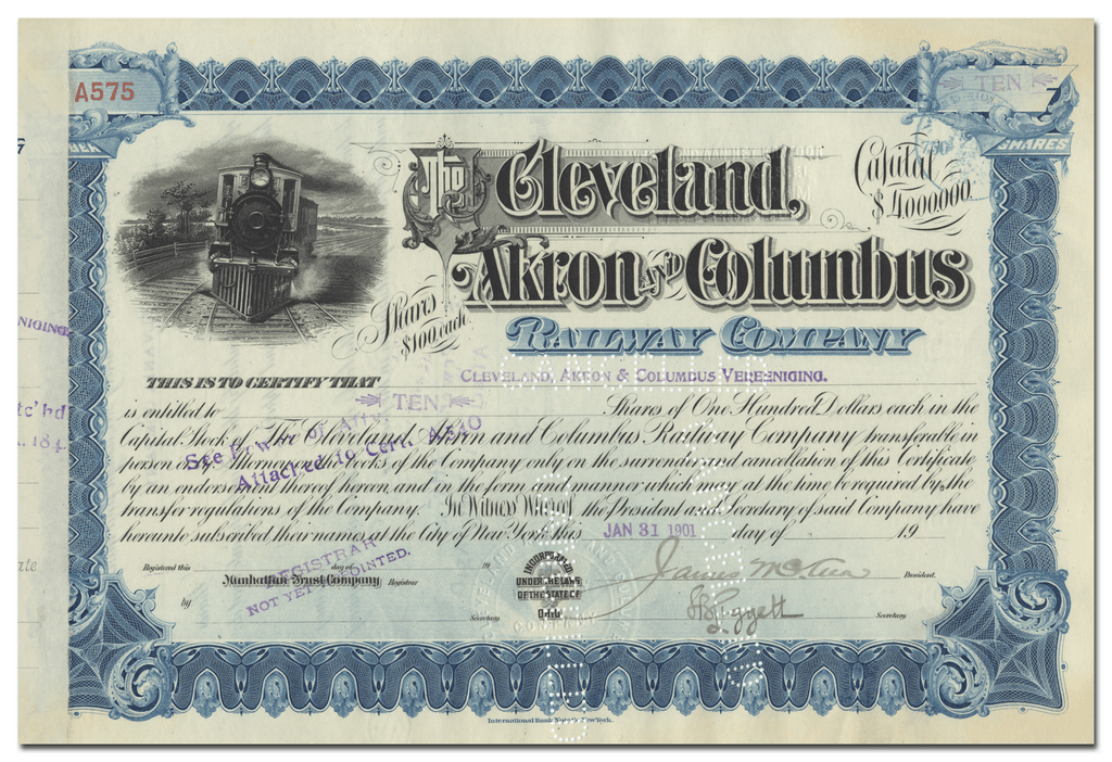 Cleveland, Akron and Columbus Railway Company Stock Certificate