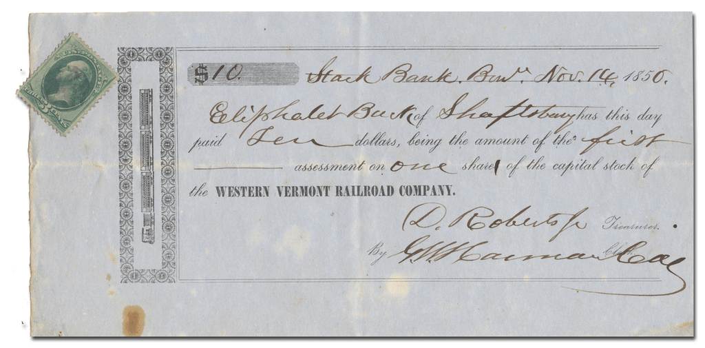 Western Vermont Railroad Company Stock Certificate