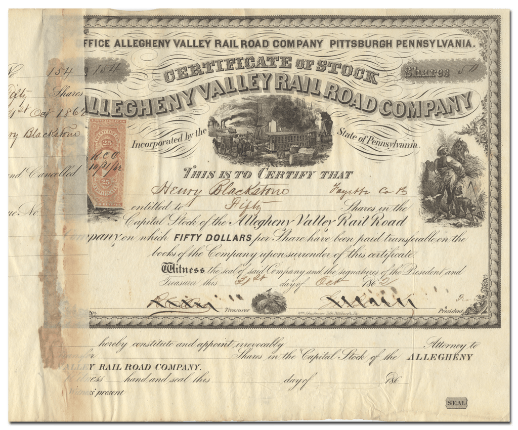 Allegheny Valley Railroad Company Stock Certificate
