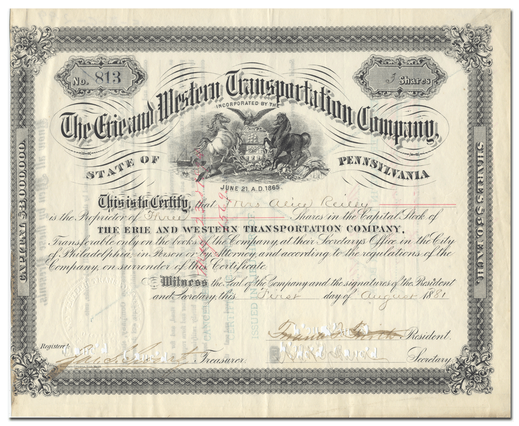 Erie and Western Transportation Company Stock Certificate