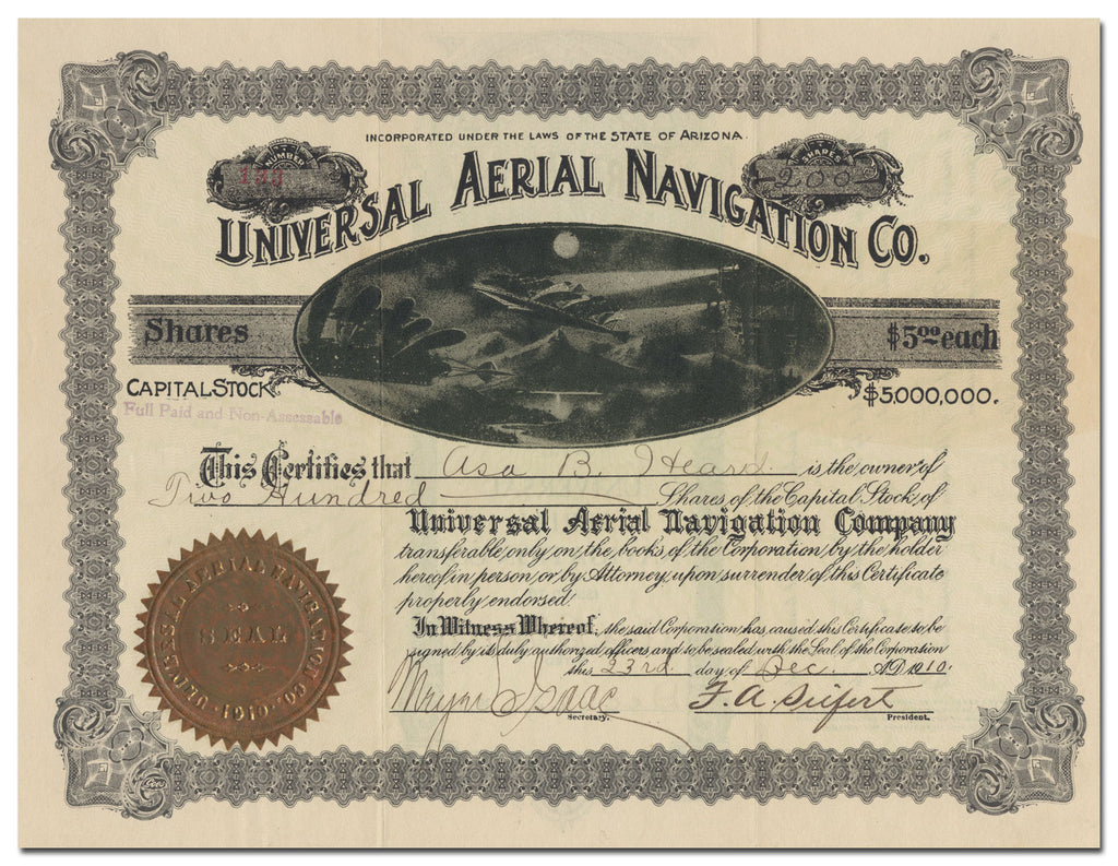 Universal Aerial Navigation Co. Stock Certificate
