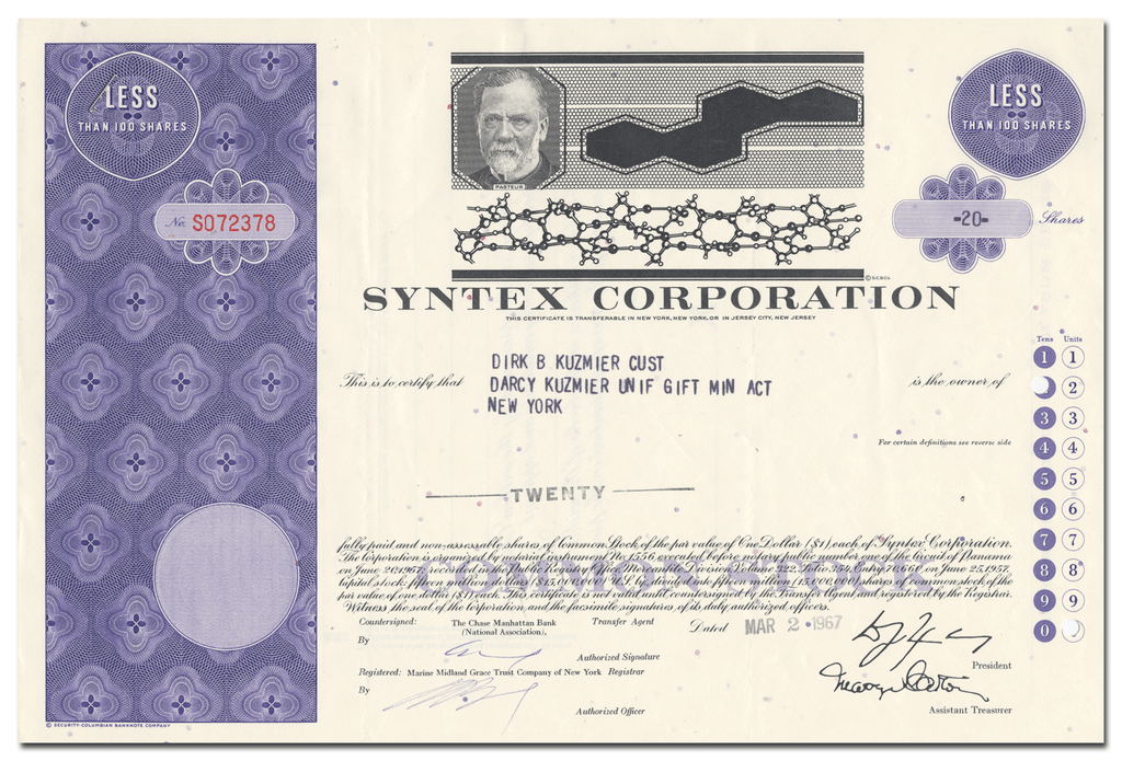 Syntex Corporation Stock Certificate