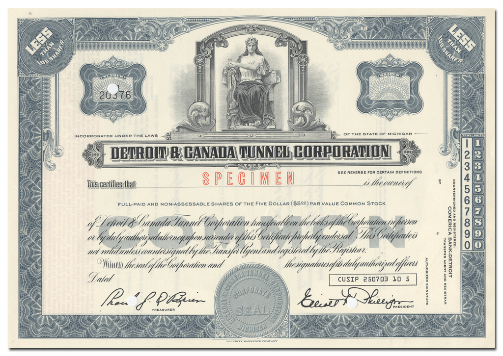 Detroit & Canada Tunnel Corporation Stock Certificate