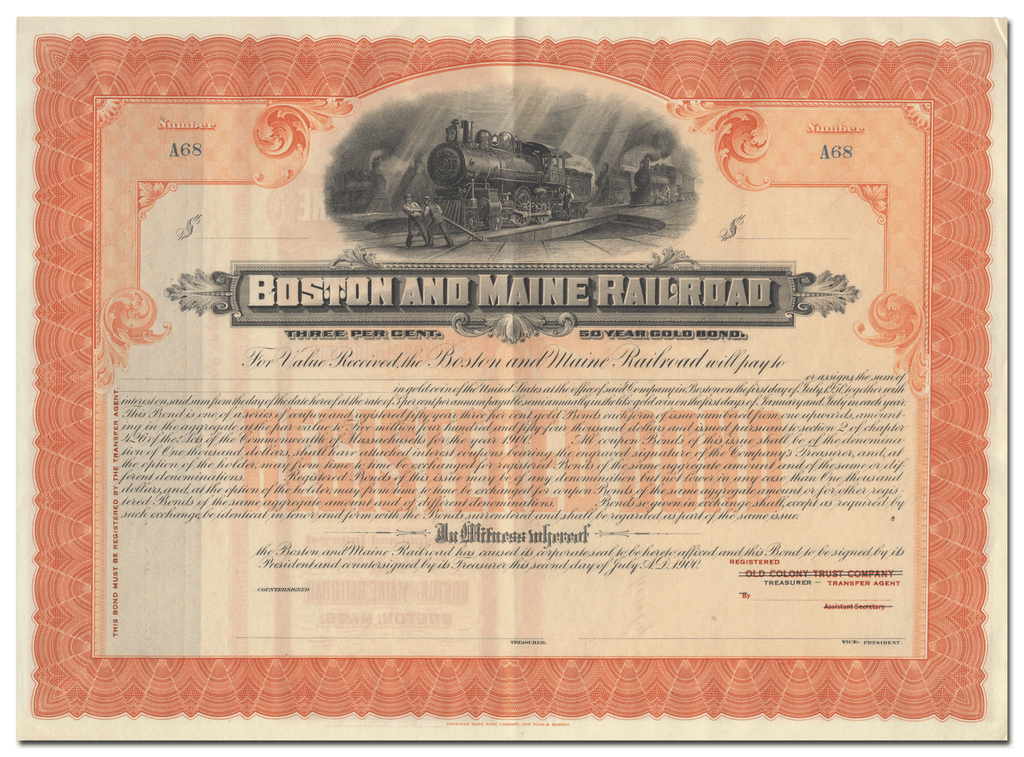 Boston and Maine Railroad Bond Certificate