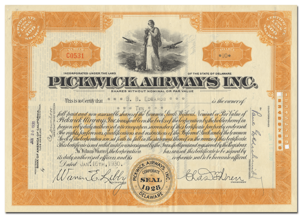 Pickwick Airways, Inc. Stock Certificate