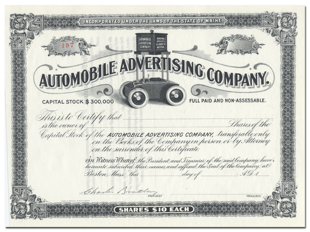 Automobile Advertising Company Stock Certificate