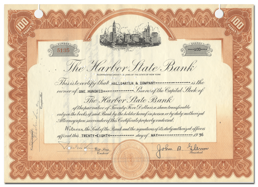 Harbor State Bank Stock Certificate