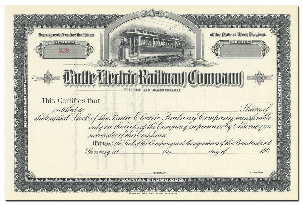 Butte Electric Railway Company Stock Certificate