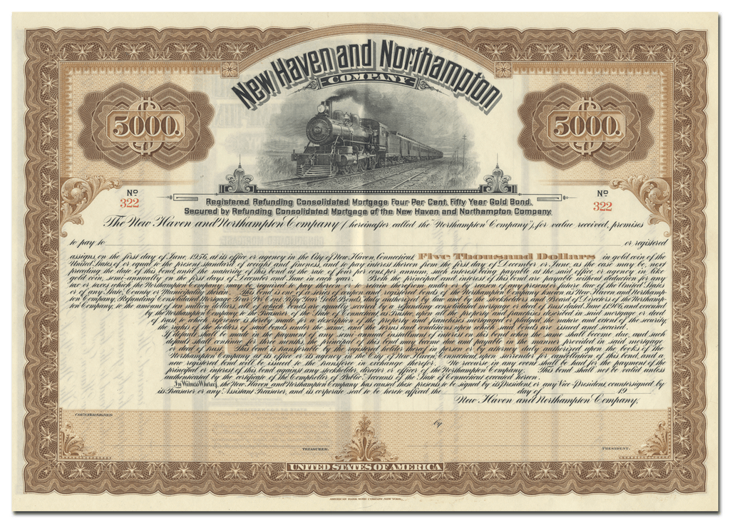 New Haven and Northampton Company Bond Certificate