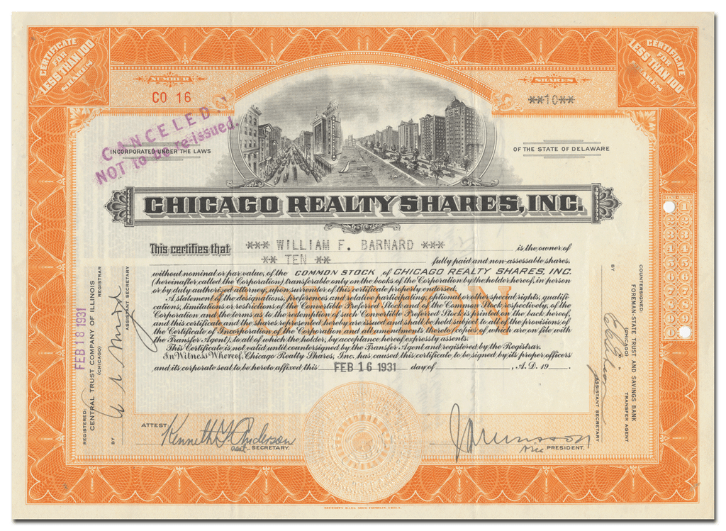 Chicago Realty Shares, Inc. Stock Certificate