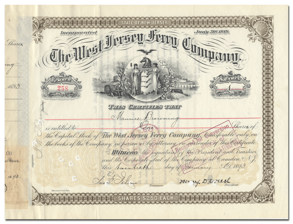 West Jersey Ferry Company Stock Certificate