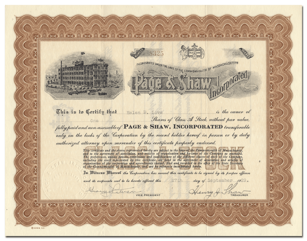 Page & Shaw, Incorporated Stock Certificate