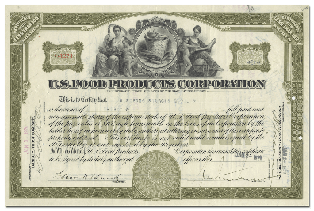 U. S. Food Products Corporation Stock Certificate