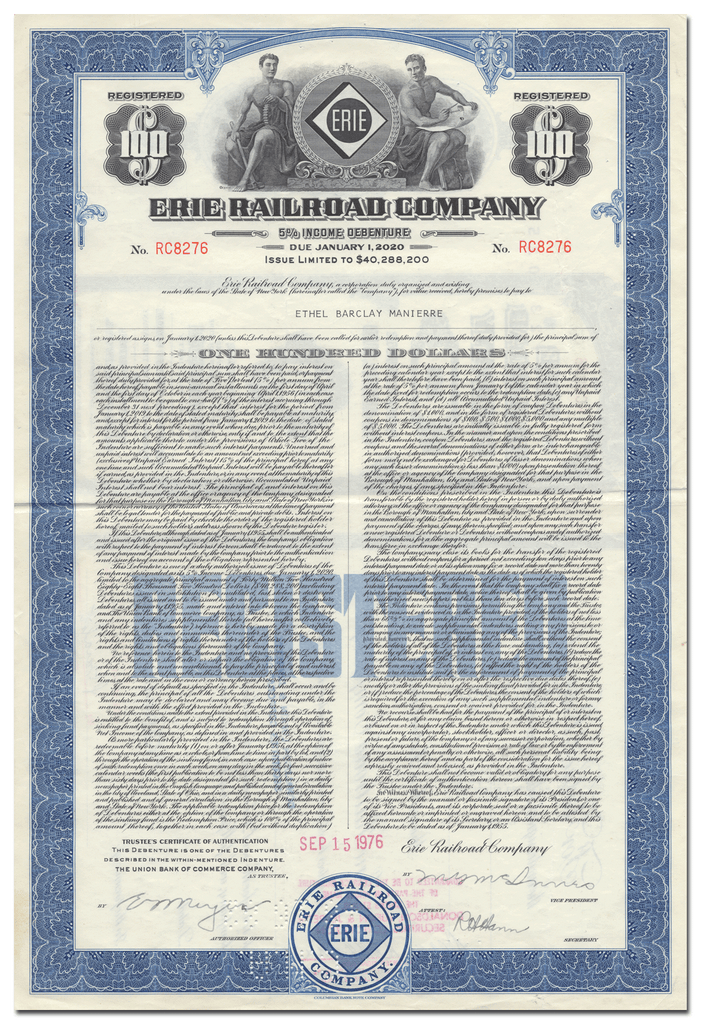 Erie Railroad Company Bond Certificate