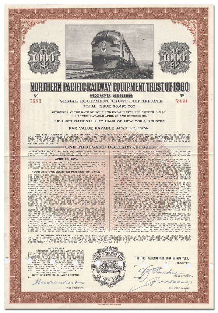 Northern Pacific Railway Company Bond Certificate