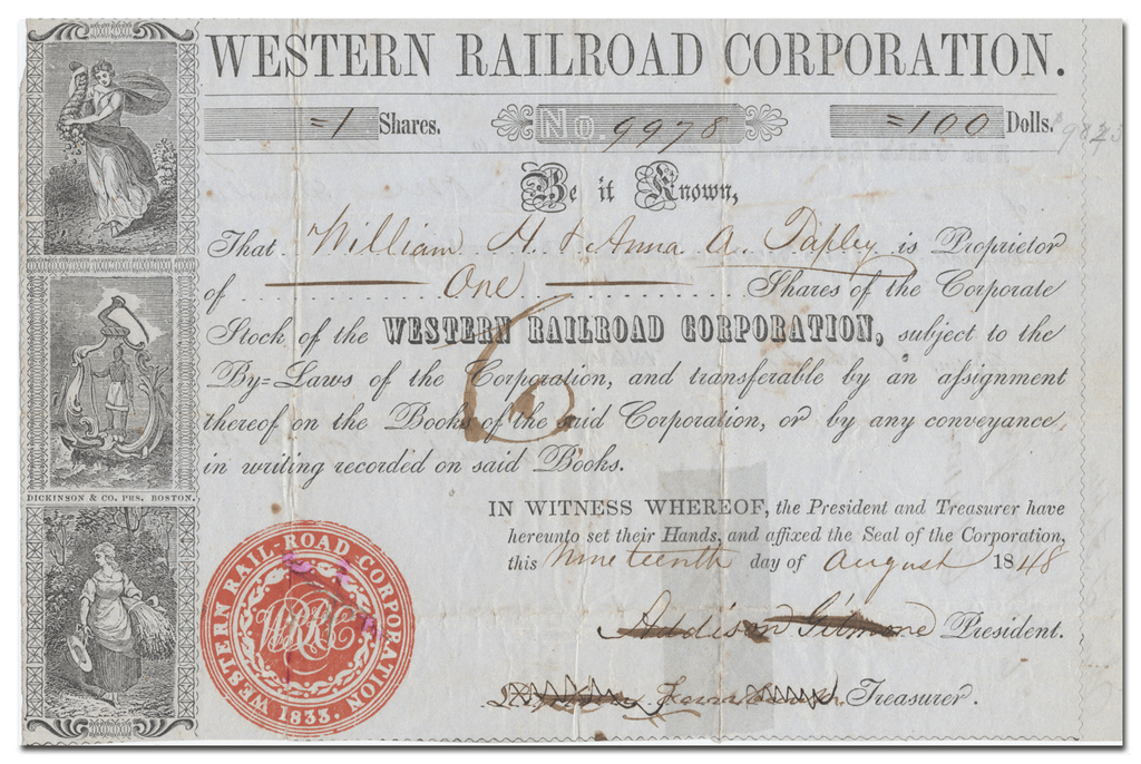 Western Railroad Corporation Stock Certificate