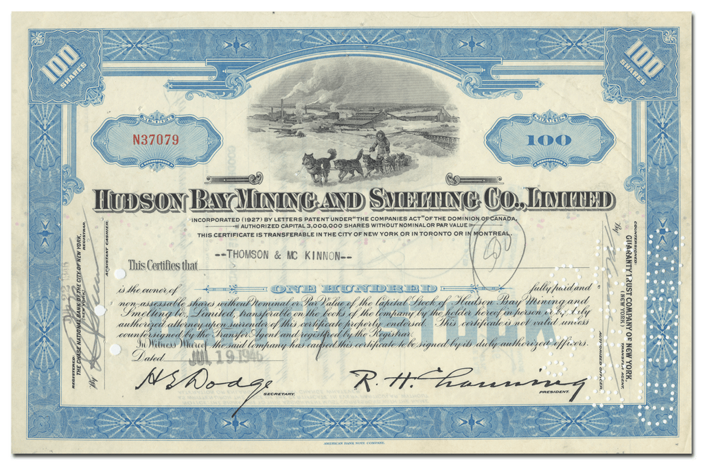 Hudson Bay Mining and Smelting Co., Ltd. Stock Certificate