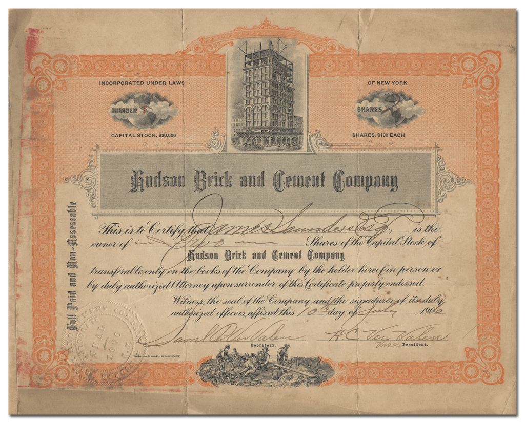 Hudson Brick and Cement Company Stock Certificate