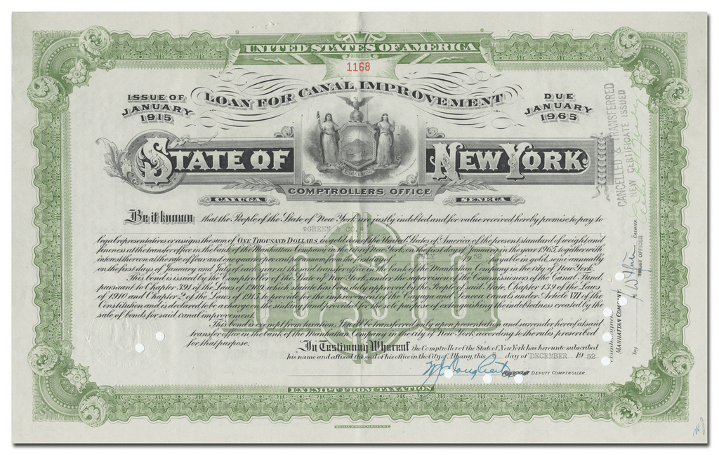 State of New York Canal Improvement Bond Certificate