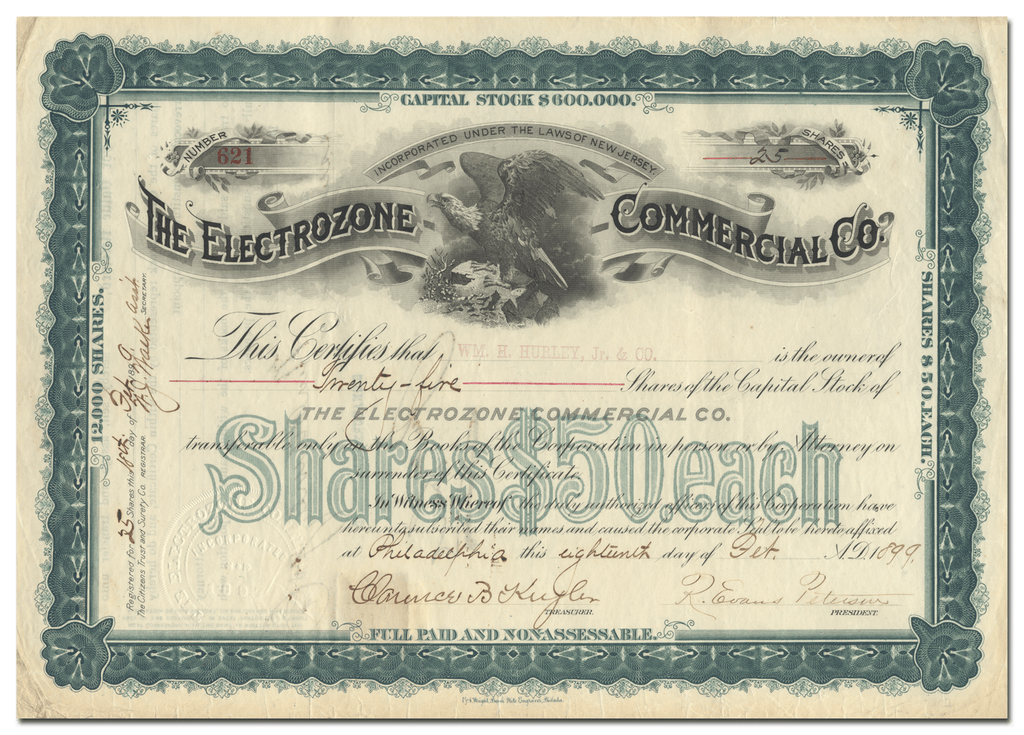 Electrozone Commercial Co. Stock Certificate
