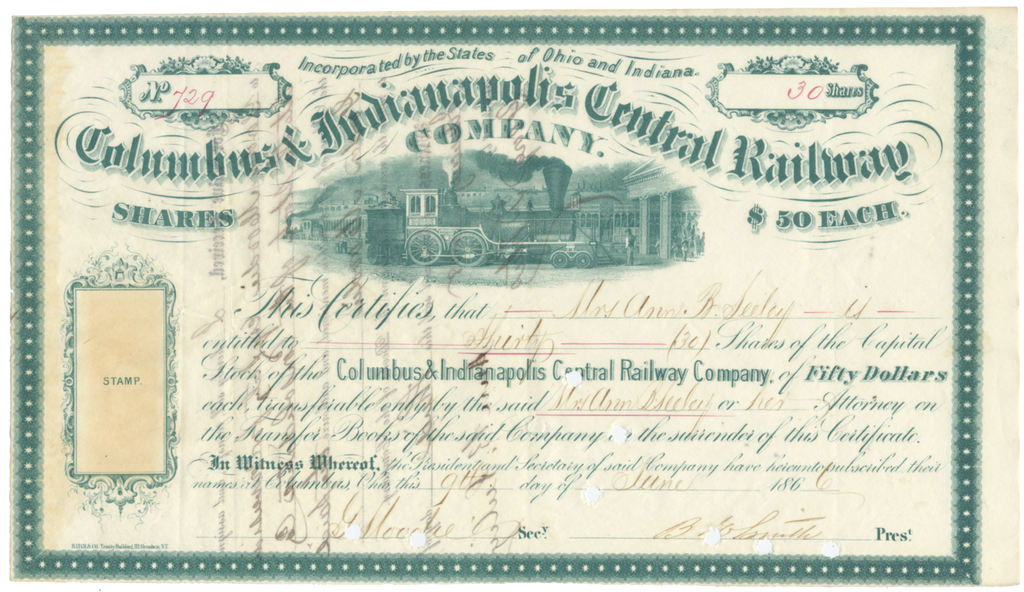 Columbus & Indianapolis Central Railway Company Stock Certificate