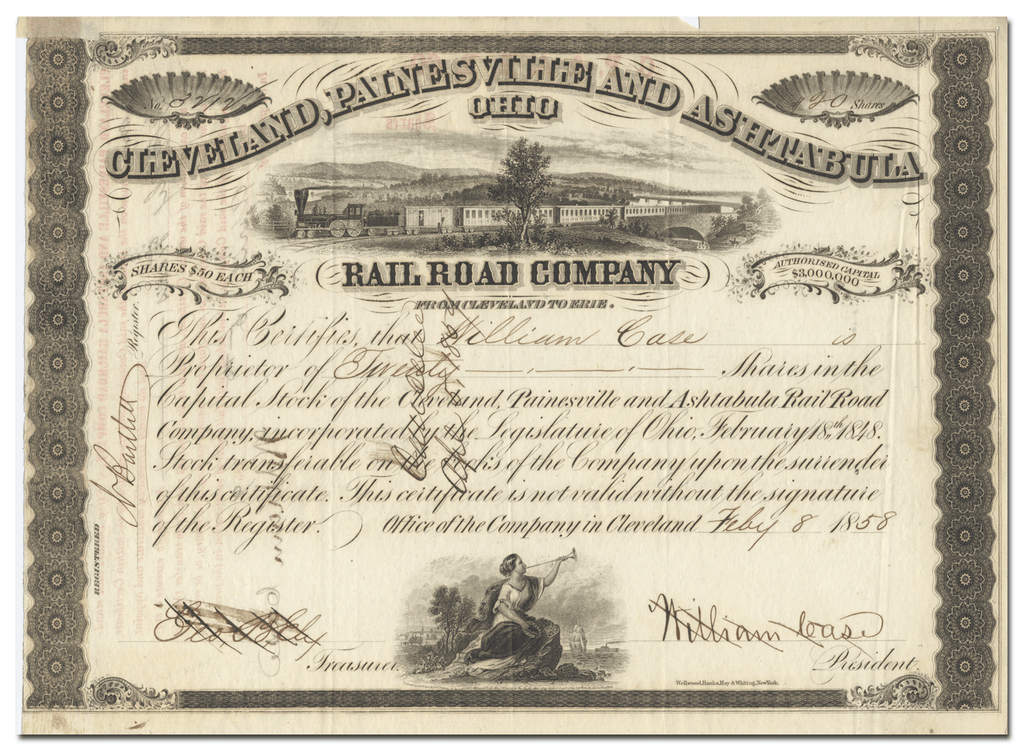 Cleveland, Painesville and Ashtabula Rail Road Company Stock Certificate
