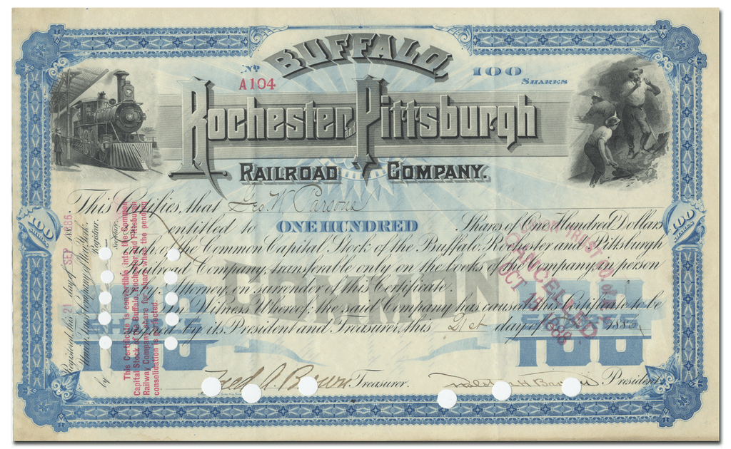Buffalo, Rochester and Pittsburgh Railroad Company Stock Certificate