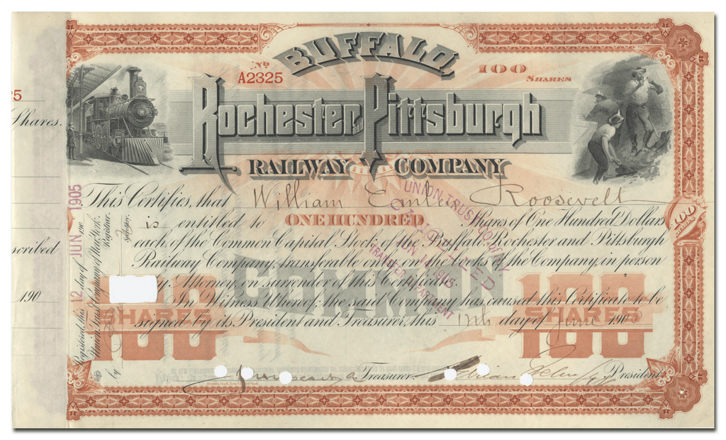 Buffalo, Rochester and Pittsburgh Railway Company Stock Certificate Issued to William Emlen Roosevelt