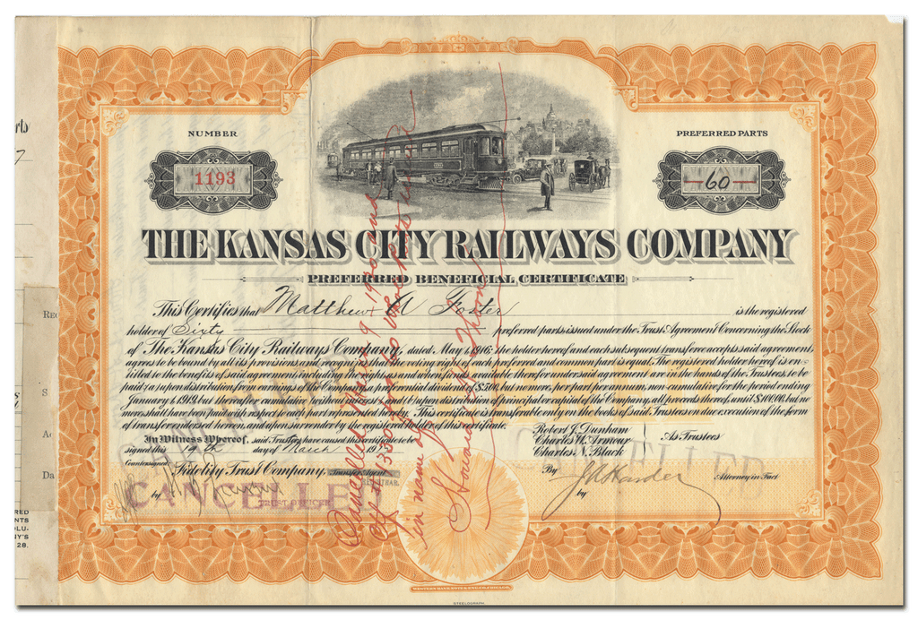 Kansas City Railways Company Stock Certificate