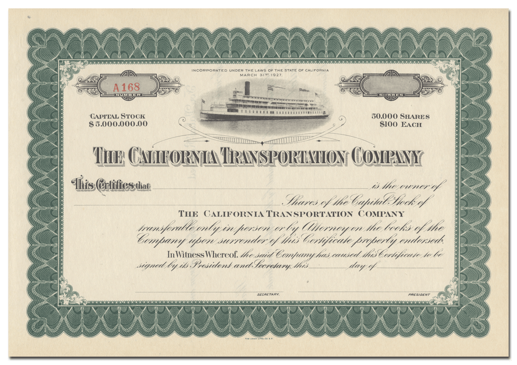 California Transportation Company Stock Certificate