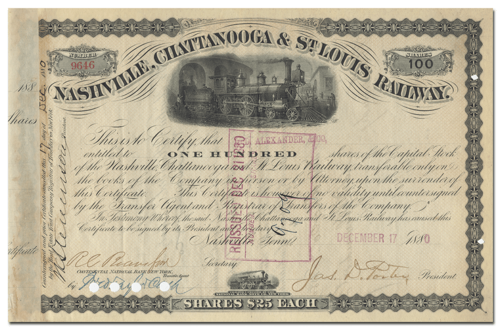 Nashville, Chattanooga & St. Louis Railway Stock Certificate Signed by James Davis Porter