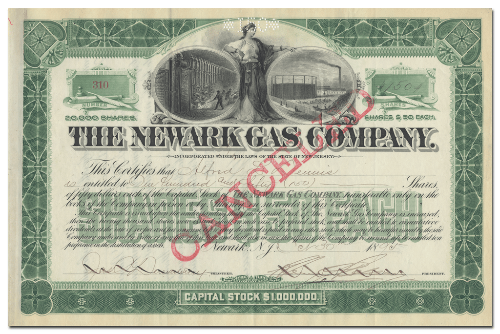 Newark Gas Company Stock Certificate