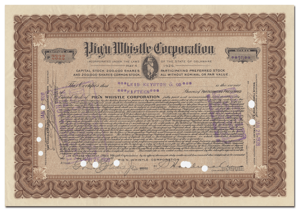 Pig'n Whistle Corporation Stock Certificate