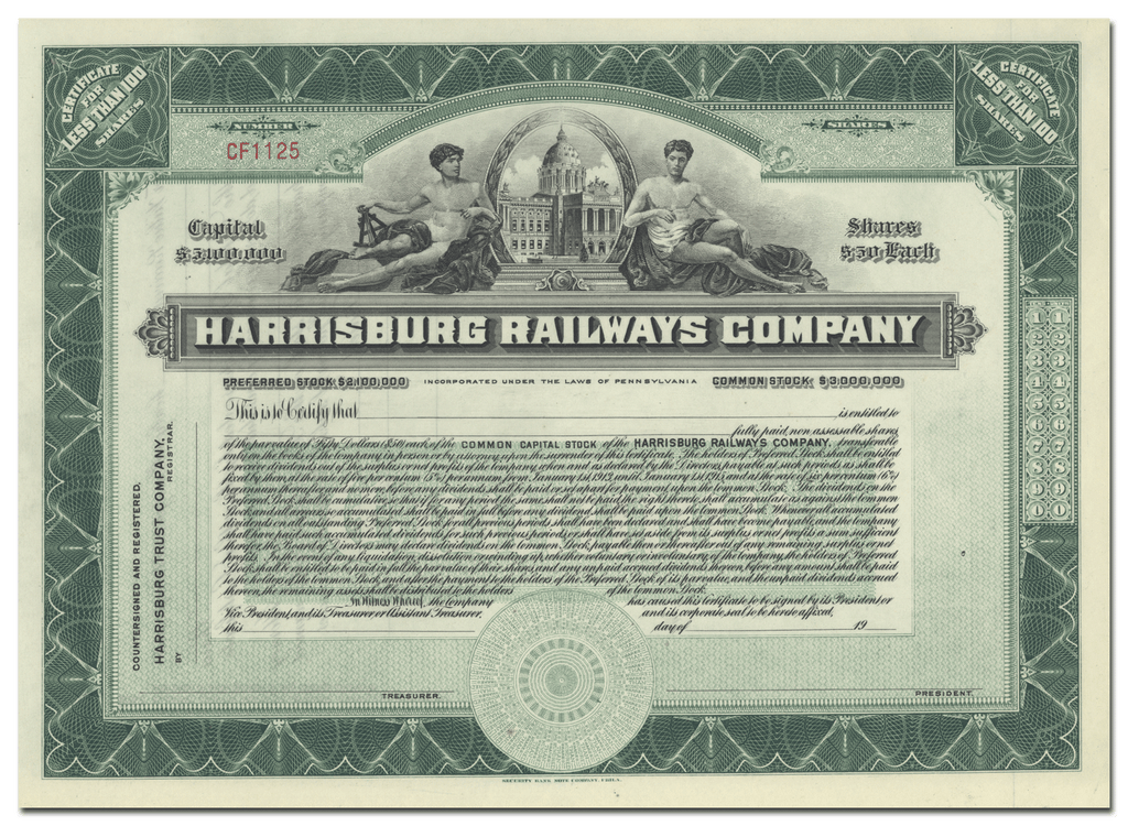 Harrisburg Railways Company Stock Certificate
