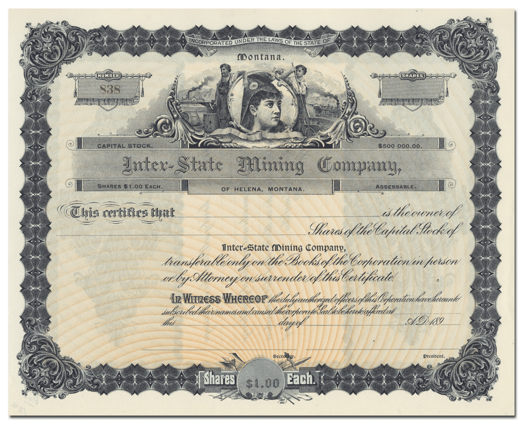 Inter-State Mining Company Stock Certificate