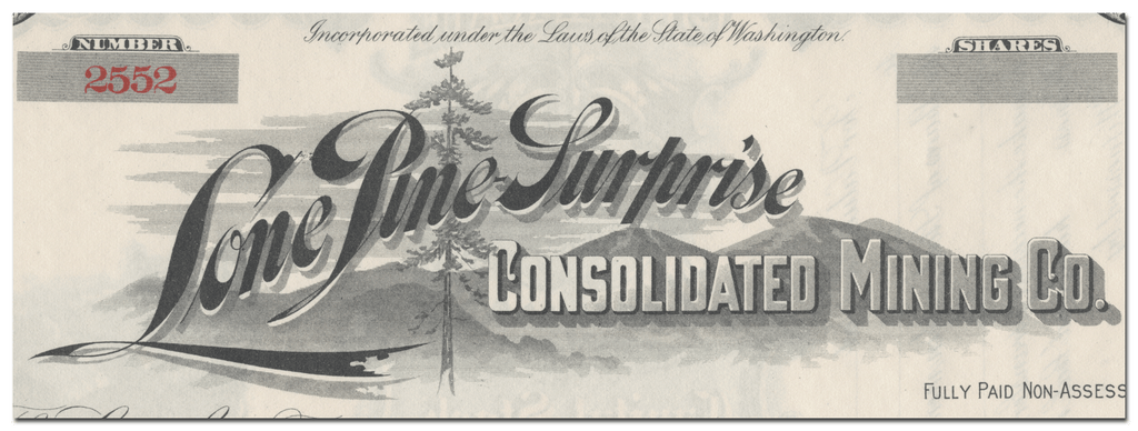 Lone Pine Surprise Consolidated Mining Co. Stock Certificate