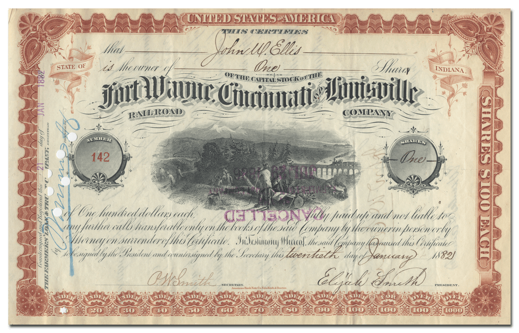 Fort Wayne, Cincinnati and Louisville Rail Road Company Stock Certificate