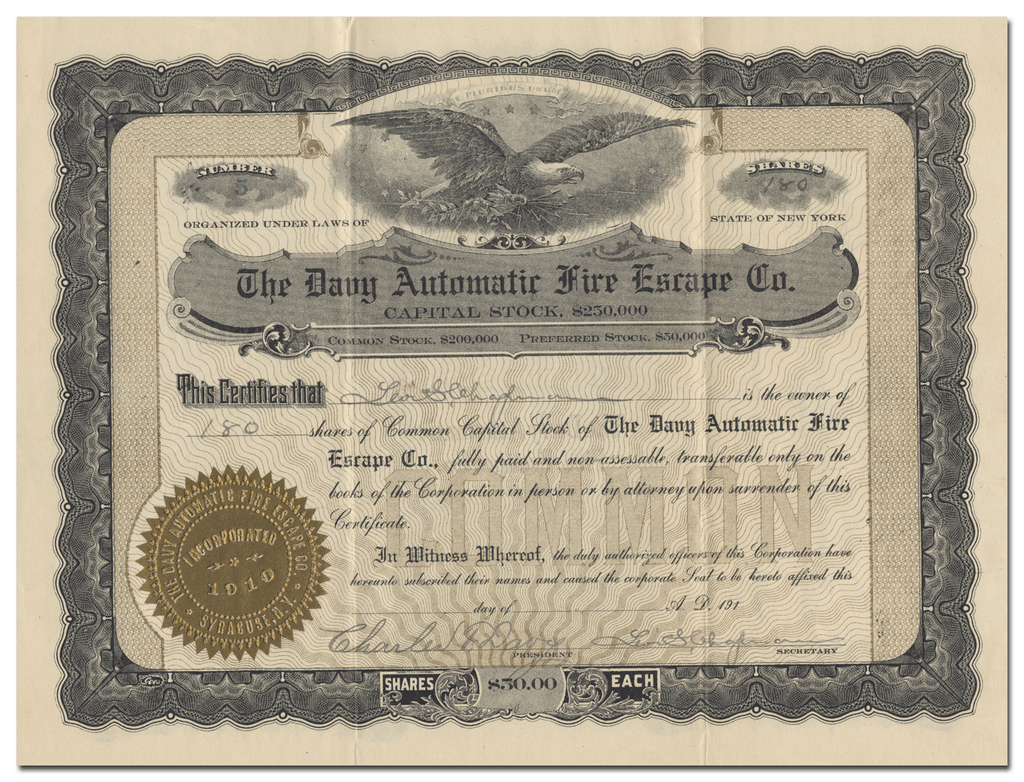 Davy Automatic Fire Escape Co. Stock Certificate