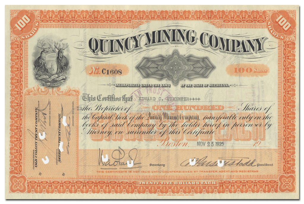 Quincy Mining Company Stock Certificate