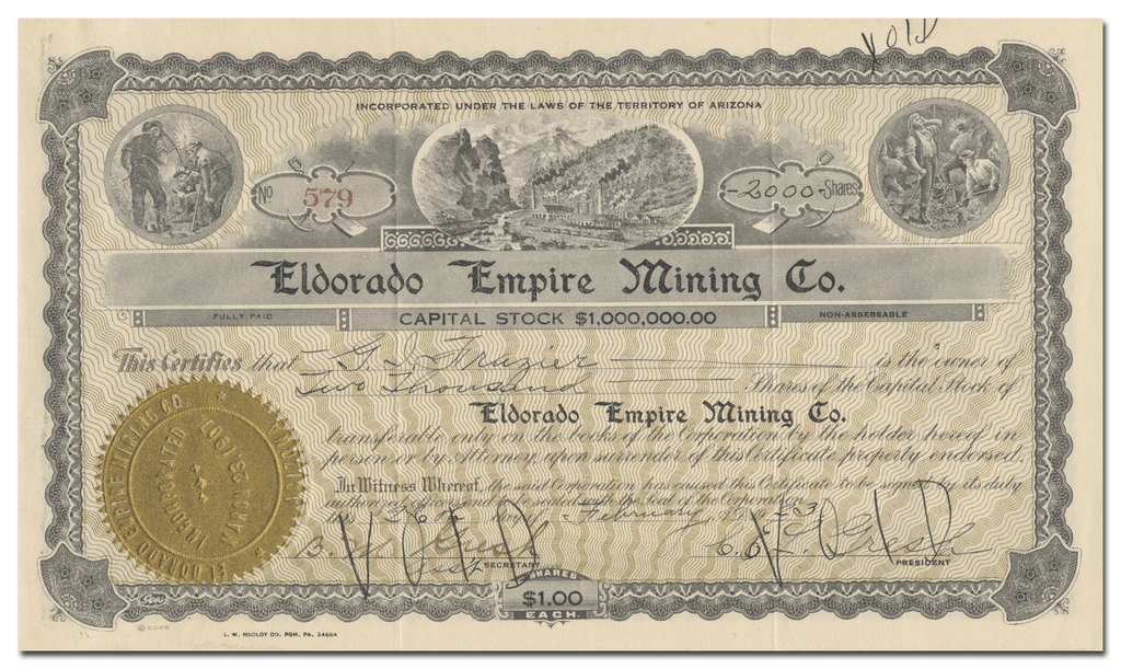 Eldorado Empire Mining Co. Stock Certificate