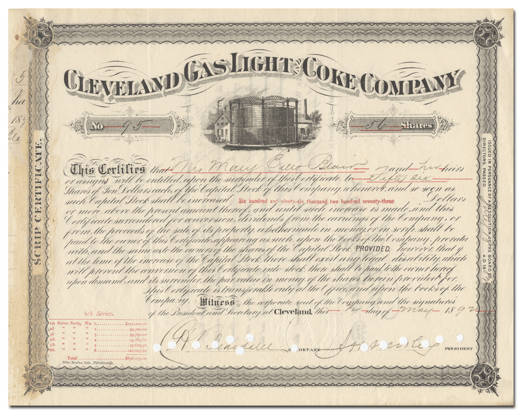 Cleveland Gas Light and Coke Company Stock Certificate