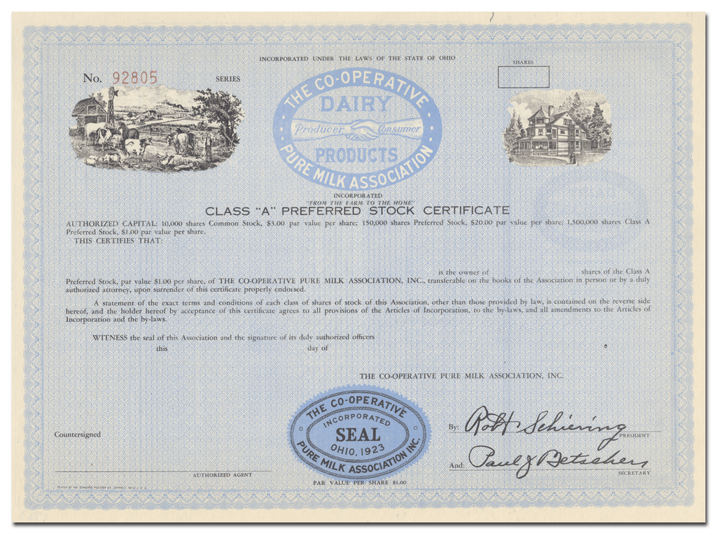 Co-Operative Pure Milk Association Stock Certificate