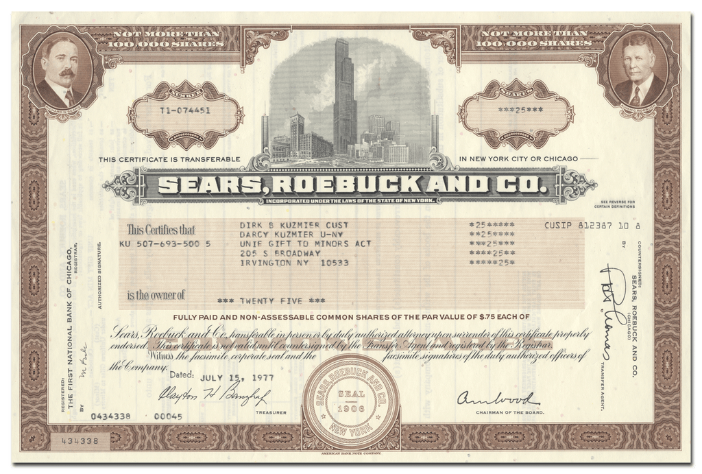Sears, Roebuck and Co. Stock Certificate