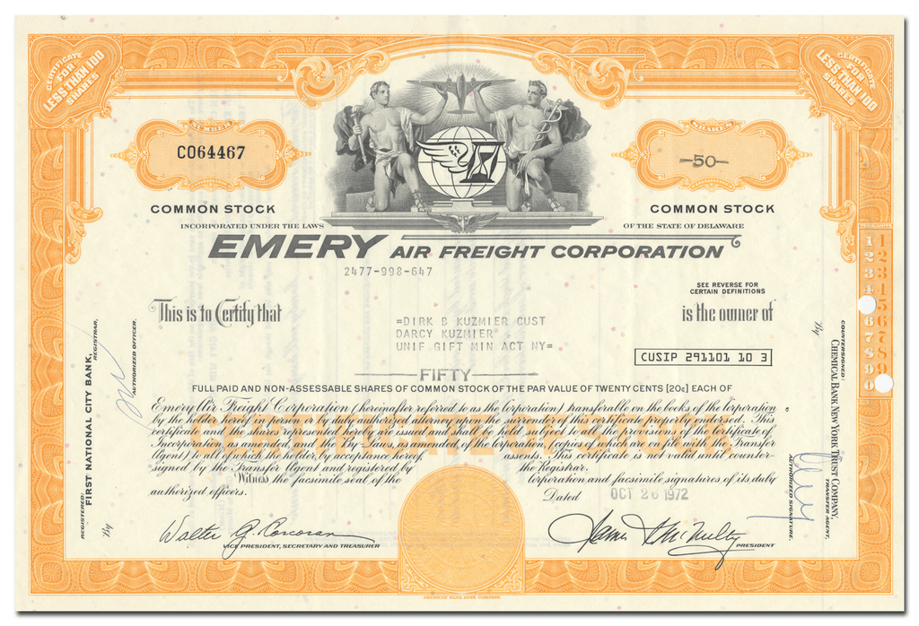 Emery Air Freight Corporation Stock Certificate